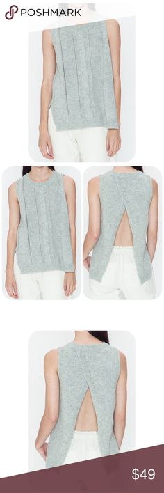 Very soft open Back Sleeveless Top Beautiful and very soft open Back Sleeveless Top. Color is a very light gray. Different sizes available. Sweaters