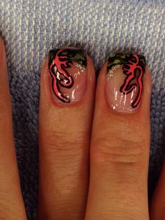 Camo nails with glitter and pink browning symbol 1