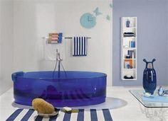 How design details add character to any space www.livelyupyours.com, www.facebook.com/livelyupyours #design #homedecor #designdetails #unique #architecturalelements #bathroom #stripes #blue #modern #white