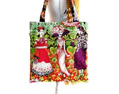 Frida Kahlo bag Tote bag Book bag Day of the dead by TheDutchLoft