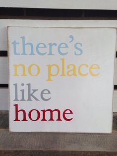 There's no place like home painted wooden sign red yellow blue grey  on Etsy, $25.00