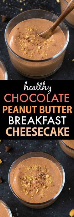 Healthy Chocolate Peanut Butter Breakfast Cheesecake (V, GF, DF)- Thick, creamy and packed with protein, this clean eating recipe is LOADED with peanut butter flavor, minus all the fat and zero sugar! {vegan, gluten fee, sugar free recipe}- thebigmansworld.com