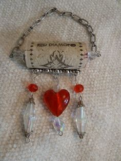 Wine Bottle Necklace  Red Diamond by TheBeadedCork on Etsy, $7.50