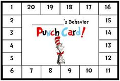 Dr. Seuss / Cat in the Hat Themed Behavior Punch Card