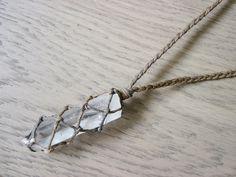 Clear quartz necklace, raw quartz necklace, quartz point necklace, healing crystal necklace, hemp necklace, macrame necklace by HighonHemp on Etsy https://www.etsy.com/listing/249942541/clear-quartz-necklace-raw-quartz
