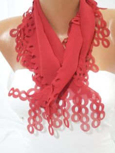 Women Red Scarf  Headband  Cowl  Spring Trends NEW By by DIDUCI, $14.50