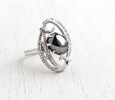 Vintage Hematite Gray Stone Ring - Retro Signed Sarah Coventry Ebb Tide 1970s Stone Silver Tone Adjustable Modernist Costume Jewelry by Maejean Vintage on Etsy, $15.00