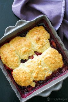 Plum Cobbler ~ Easy and delicious classic plum cobbler, using Santa Rosa plums, topped with a biscuity cobbler topping.