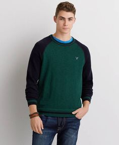 American Eagle Raglan Baseball Sweater, Men's, Deep Forest Sweater Hoodie, Men Sweater, American Eagle Outfitters, Sperrys Men, American Eagle Men, Under Armour Men, Mens Outfitters, Adidas Men, Mens Fashion