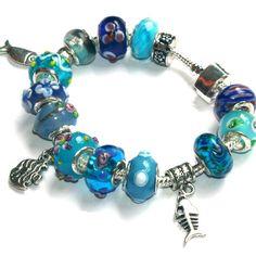 Blues  Under the Sea European Bracelet With lampwork by onlybiju