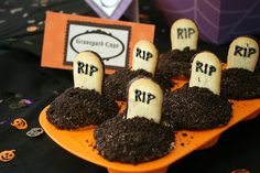 Tombstone cupcakes - nailed it!  Used the picture as inspiration.  Used Betty Crocker Devil's Food cake mix, whipped vanilla frosting, Oreos (took out the white center), Milanos, and black icing.  Adorable and yummy!