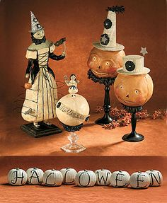 Vintage Halloween Decorations- I love ALL of these especially the Witch..