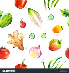 Watercolor Illustration With Composition Of Farm Grown Products. Seamless Pattern On Black Background . Vegetables Set: Ginger Root, Green Beans, Tomato, Onion, Kohlrabi. Fresh Organic Food. - 512764456 : Shutterstock