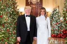 President Donald J. Trump and First Lady Melania Trump are seen in their Official Christmas Portrait on Saturday, December in the Cross Hall of the White House in Washington, D. (Official White House Photo by Andrea Hanks) Donald Trump, Donald And Melania Trump, First Lady Melania Trump, Joe Biden, Michelle Obama Photos, Film Star Wars, Trump Christmas, Merry Christmas, Christmas Collage