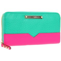 Rebecca Minkoff 15ZICBCTR2 Wallet ($195) ❤ liked on Polyvore featuring bags, wallets, clutches, borse, green wallet, zipper bag, green leather wallet, genuine leather wallet and real leather wallets