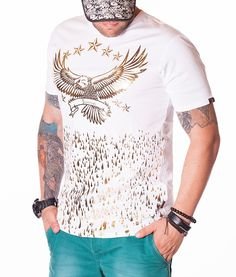 Billionaire Eagle Print T-Shirt - Light Grey Color: Light Grey Crew neck collar Print Billionaire logo on the front Billionaire logo on the left sleeve Eagle Print, Paul Shark, Great T Shirts, Manga, Armani Jeans, Star Print, Neck T Shirt, Fashion Brands, Shirt Designs