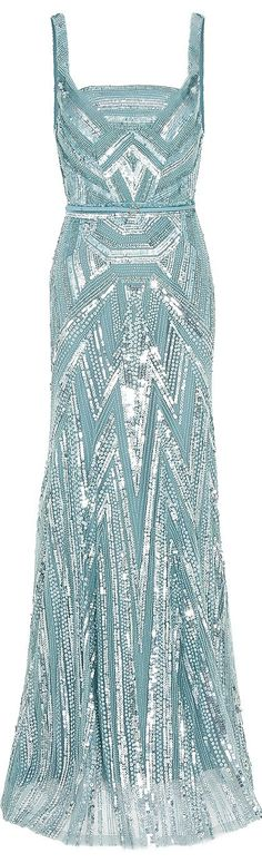 Pale Blue fully beaded classic from Elle Saab.  The perfect companion pieces ~ Pale yellow diamonds!