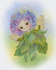 Cross stitch Chart Pattern Flower Sprites - Hydrangea Sprite