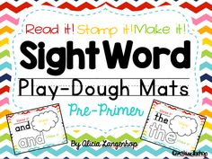 "Hands-On Sight Word Play Dough Mats {Dolch Pre-Primer}  This product contains 40 Dolch Pre-Primer Sight Word Play Dough Mats for hands-on, interactive sight word practice! ""READ IT!""- Read the sight word aloud. ""STAMP IT!""- Use letter stamps to stamp out the word on the playdough. ""MAKE IT!""- Roll the play dough out to form each letter of the word."