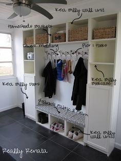 Mud room with Ikea bookcases and shelves