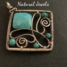 turquoise wire pendant