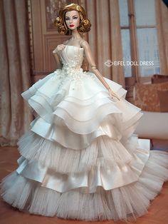 New Dress for sell EFDD Barbie Bridal, Barbie Wedding Dress, Barbie Gowns, Doll Clothes Barbie, Barbie Dress, Wedding Dresses, Barbie Doll, Girl Dolls, Fashion Royalty Dolls