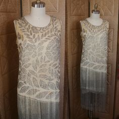 Vintage 20s Cream Silk & Silver Glass Beaded Flapper Dress w Fringe S GATSBY