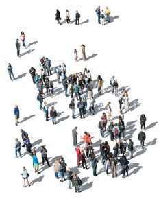 cut out large group of people standing seen from above