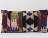 Turkish cushion decorative throw pillow lumbar kilim pillow decorative pillow outdoor floor  bohemian decor boho ethnic tribal accent 20623