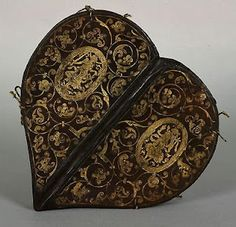 Renaissance, 16th century heart-shaped Prayer Book, circa 1580, gilt embossed leather cover.  Attributed to Caspar Meuser, an apprentice and successor of Jakob Krause, the German bookbinder who was the first to use gold tooling and French & Italian designs in his binding. This book was designed for Anne of Denmark, the wife of Augustus I, Elector of Saxony.
