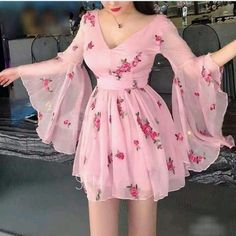 Blvyisla Pink Fairy Lady Mini Dress Slim Women Deep V Flower Sweet Ruffled Summer Holiday Dresses Night Party Lolita Vestidos Dress Outfits, Fashion Dresses, Cute Outfits, Fairy Outfits, Dress Attire, Midi Dresses, Pretty Dresses, Beautiful Dresses, Cheap Dresses