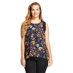 Women's Plus Size Floral Sleeveless Hi-Lo Top - inLUV
