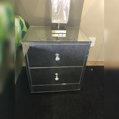 Mirror two drawer bedside unit Bedside, Filing Cabinet, Drawers, The Unit, Mirror, Storage, Home Decor, Purse Storage, Decoration Home