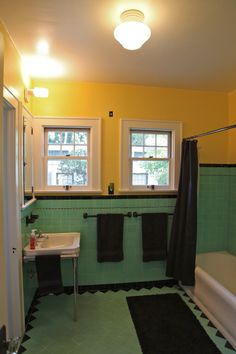 1936 art deco bath Furnishings, Bathroom Styling, Sweet Home, Framed Bathroom Mirror, Spanish Style Homes, Bathrooms Remodel, Remodel, Art Deco, Home Decor