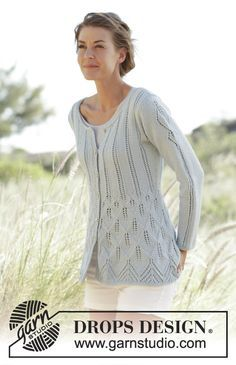 """Fitted jacket with leaf pattern, worked top down in """"Cotton Light"""" Free #knitting pattern"""