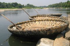Coracles on the river Cauvery - Srirangapatna, Karnataka