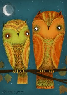 by Terry Runyan Nocturne, Owl Illustration, Illustrations, Branch Art, Different Kinds Of Art, Owl Fabric, Owl Pictures, Owl Always Love You, Bird Artwork
