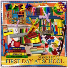 """Photo from album """"First Day At School"""" on Yandex. School Scrapbook, Scrapbook Pages, 2 Clipart, 1st Birthday Pictures, Free Digital Scrapbooking, Digital Papers, Scrapbook Designs, Scrapbook Embellishments, Kit"""