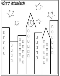 City Scene Coloring Page