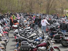 Staging of the bikes for the Blessing of the Bikes event.