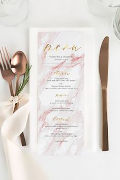 "Modern classic menu card of ""pink and gold marble (DIY printing) - Wedding Ideas Birthday Dinner Menu, Wedding Dinner Menu, Wedding Menu Cards, Diy Wedding, Wedding Catering, Wedding Gowns, Catering Menu, Wedding Vintage, Gold Wedding"