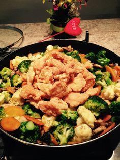 Pollo agridulce con verduras
