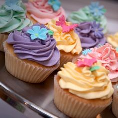 Lovely And Colourful Birthday Party Cupcake Designstopped With Flavoured Creams Decorated Little Flowers