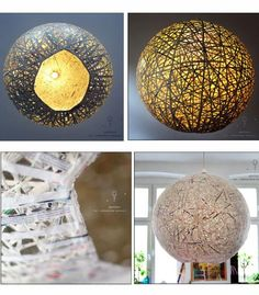 Newspaper lamp - thin strips of newspaper attached to a balloon and allowed to dry. Then pop the balloon and cut a large hole for bottom opening and a small hole at the top for wiring that holds the light socket.