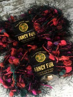 Lot 2 Fancy Fur Strawberry Fields Lion Brand Novelty Eyelash Yarn