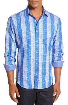 Bugatchi Classic Fit Long Sleeve Floral Stripe Print Sport Shirt