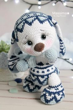 White bunny with blue jacquard. White bunny with Plush Pattern, Crochet Doll Pattern, Crochet Bunny, Cute Crochet, Crochet Dolls, Rabbit Toys, Bunny Toys, Easter Bunny Decorations, Stuffed Animals