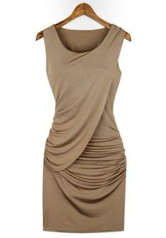 Khaki Plain Pleated Collarless Skinny Stretch Fabrics Dress