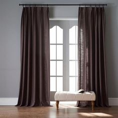 Modern Dark Brown Color Linen Solid Sheer Curtain Window Curtains For Living Room