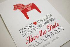 DIY Printable Save the Date Invitation - Swedish Dala Horse. $20.00, via Etsy.